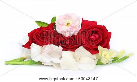 Bunch Of Gladiolus And Rose
