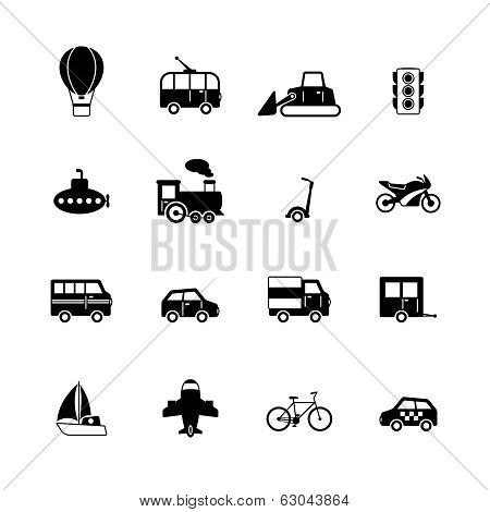 Transportation pictograms collection of passenger train tram taxi isolated vector illustration poster