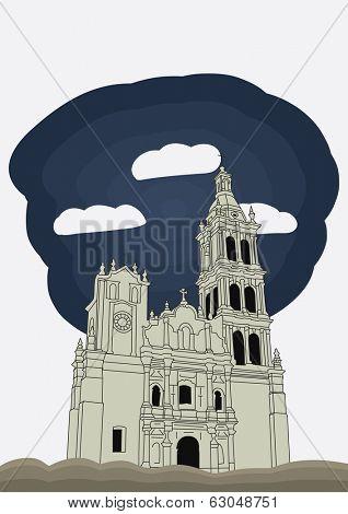 Monterrey, Nuevo Leon, Mexico Cathedral baroque style. vector illustration