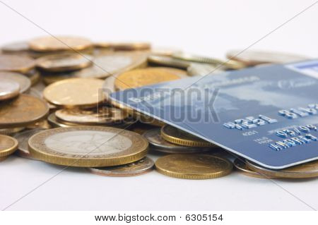 Metal Coins And Credit Card