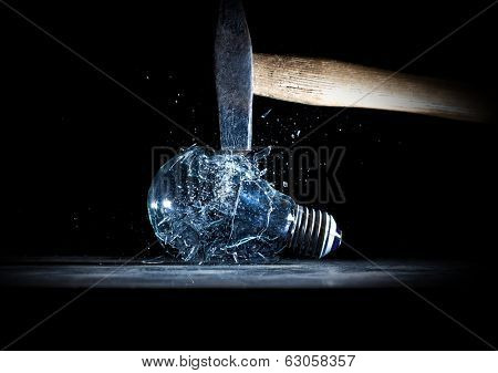 hammer tool destroy electric bulb high speed photo poster