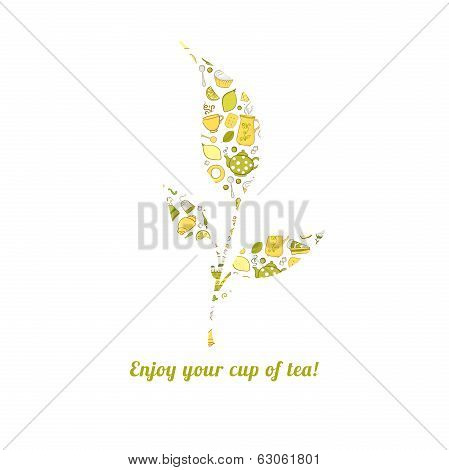 Tealeaf with tea pattern isolated  background