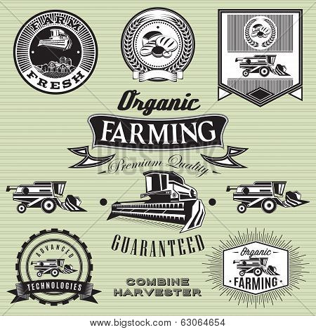set of labels on bread and combine harvester poster