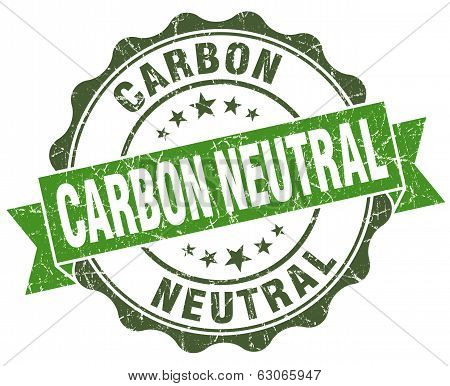 Carbon Neutral Green Grunge Retro Vintage Isolated Seal