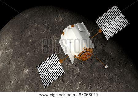 Spacecraft Orbiting Planet.