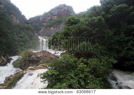 Peak and Ravana waterfall near Ella Sri Lanka poster