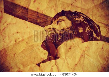 a figure of Jesus Christ carrying the Holy Cross, with a retro effect poster