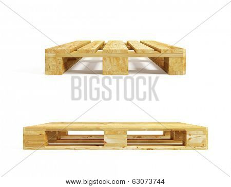 wooden pallet, isolated on white