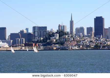 Sailboats And Skyline In San Francisco