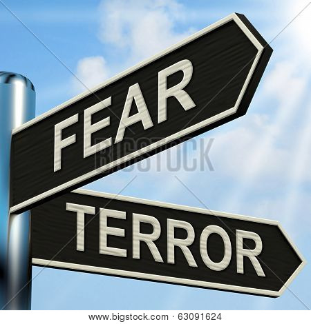 Fear Terror Signpost Shows Frightened And Terrified