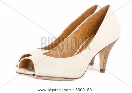 Bone White Open Toe Dress Shoes