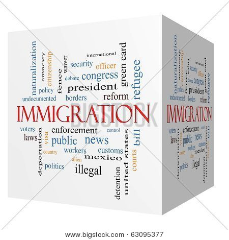Immigration 3D Cube Word Cloud Concept