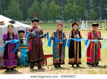 A Group Senior Delegates Of World Mongolians Convention