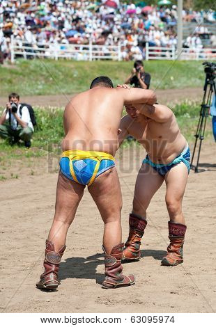 Fight Of Buryat (mongolian) Wrestlers