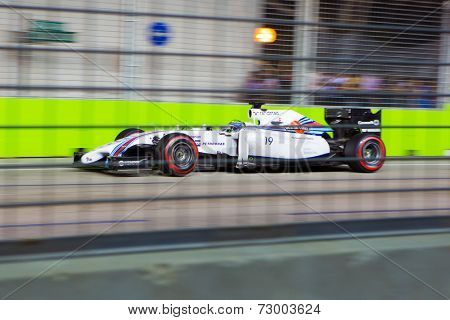 SINGAPORE - SEPTEMBER 20. Felipe Massa of Brazil in is Williams Mercedes finished 6th place in the qualifying in the Grand Prix Formula1 Singapore 20th SEPT 2014