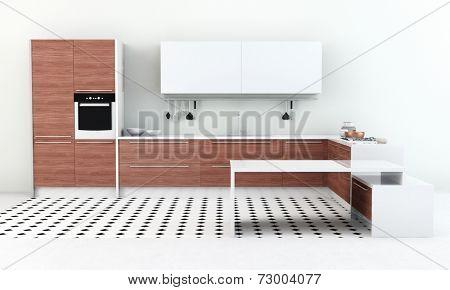 Interior of clean modern kitchenette in bright kitchen