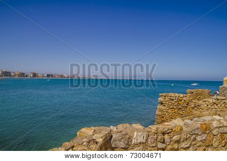 mediterranean scene, peniscola city located in spain