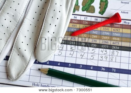 Golf Score Card With Glove, Pencil, & Tee