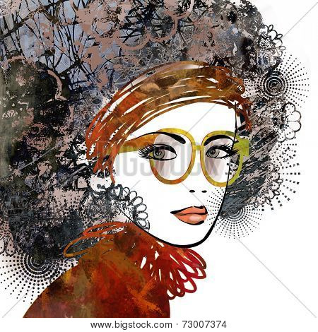 art sketched beautiful girl face profile with eyeglasses and curly hairs  in colorful graphic isolated on white background