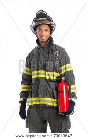 Young African American Firefighter  holding fire extinguisher on isolated white background