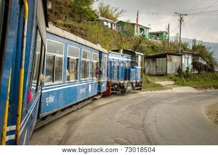 DARJEELING, INDIA - March 19: The British-built famous mountain railway, the so-called Toy Train on March 19, 2013 in Darjeeling, India. It is part of the World Heritage.