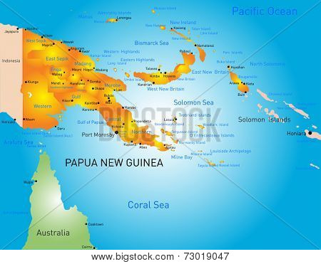 Vector color map of Papua New Guinea country