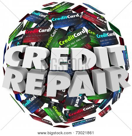 Credit Repair words in white 3d letters on a ball or sphere of cards, advice to improve or increase your rating or score so you may borrow money or get financing for mortage or loan