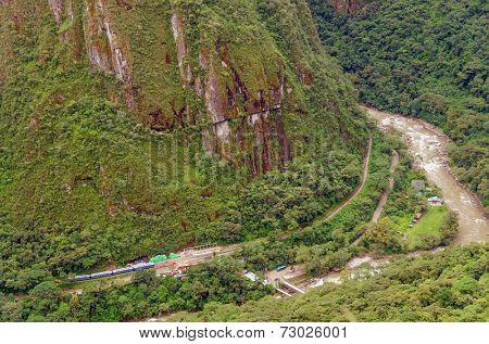 View from Machu Picchu, Peru - Urubamba river valley and train