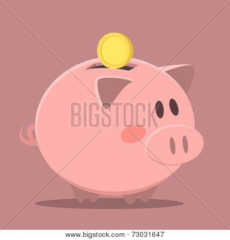 minimalistic illustration of a piggybank, eps10 vector