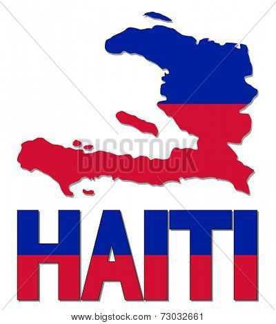 Haiti map flag and text vector illustration