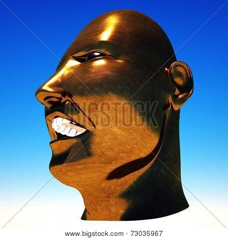 Dictator Mussolini portrait on sky background