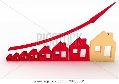 Growth in real estate shown on graph . 3d illustration on white background.