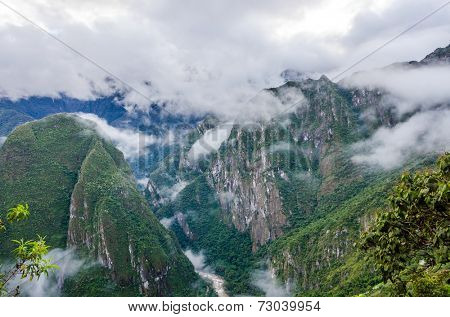 Machu Picchu, Peru - view of mountains from the ruins