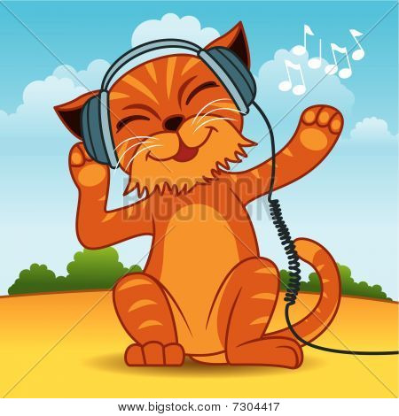 poster of Fun vector illustration of an orange fur cat wearing headphones and enjoying the music. More animals in my portfolio.