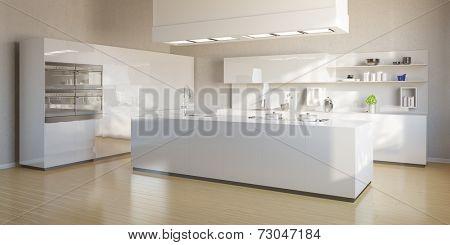 New bright kitchen with modern white kitchen island