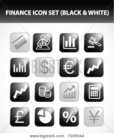 Finance Icon Set (Black & White)