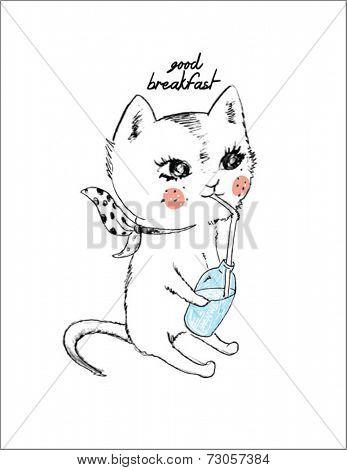 cute cat with milk