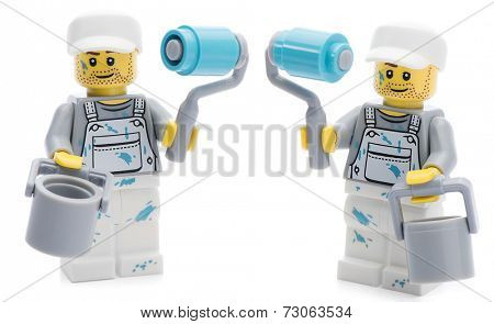 Ankara, Turkey - August 07, 2013 :  Studio shot of two Lego painter minifigures isolated on white background.