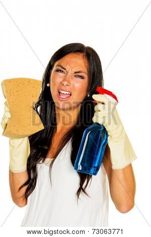 a young woman is unhappy must accept the housecleaning