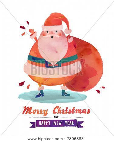 Watercolor Santa - Cute Santa Clause wishing a Merry Christmas and Happy New Year, watercolor effect vector