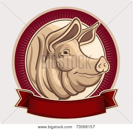 Pig in an oval frame