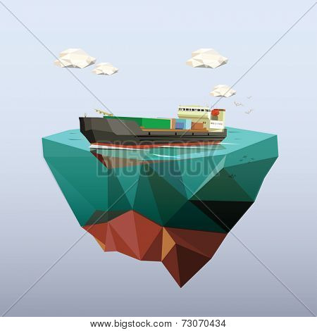 Low poly cargo ship salared across ocean. Low poly vector illustration.