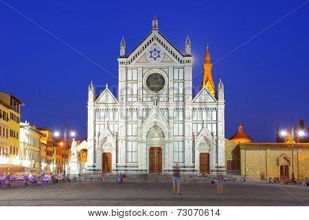 Basilica di Santa Croce in Florence at night, Italy