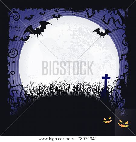 Distressed blue background with dark Halloween themed frame, scary tree branches, creepy bats, a big full moon and two spooky looking pumpkins make it the perfect Halloween backdrop.. Vector available