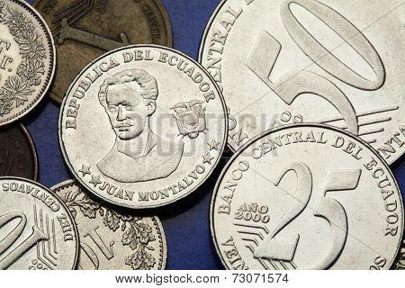Coins of Ecuador. Ecuadorian author and essayist Juan Montalvo depicted in the Ecuadorian centavo coins.