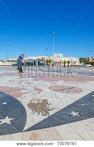 Lisbon, Portugal. August 24, 2014: Detail of the world map at the front of the Padrao dos Descobrimentos, Monument to the Discoveries, representing the world discoveries made by the Portuguese