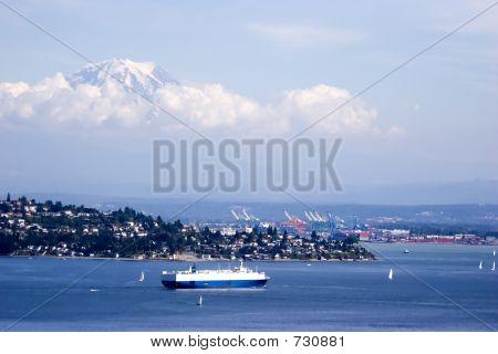 Mt. Rainier Above Shipping Lanes