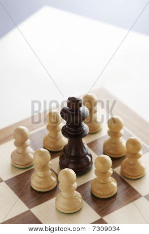 Chess Game, Black King Surrounded By White Pawns
