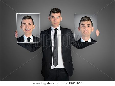 Business man with different faces