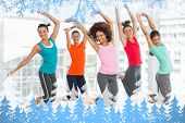 Composite image of snow frame against zumba class in gym poster